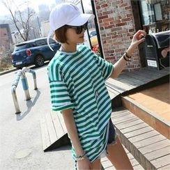 CHICFOX - Cutout Striped Long T-Shirt