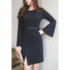 migunstyle - Slit-Side Knit Dress With Belt