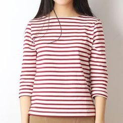 Plum Forest - 3/4-Sleeve Striped T-Shirt