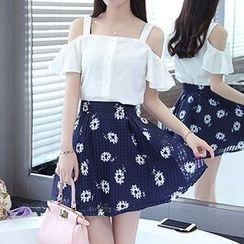 Destiny Love - Set: Cold Shoulder Chiffon Blouse + Floral Print A-Line Skirt