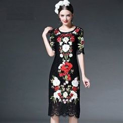 Ozipan - Floral Lace Sheath Dress