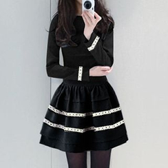 Fashion Street - Long-Sleeve Lace Panel Dress