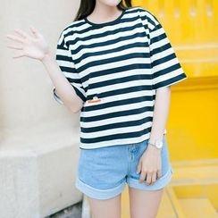 Vateddy - Striped Short Sleeve T-Shirt