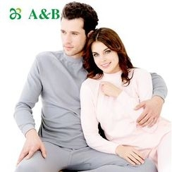 AnB - Couple Matching Set: Mock Neck Long-Sleeve T-Shirt + Leggings