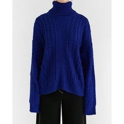 Someday, if - Turtle-Neck Cable-Knit Sweater