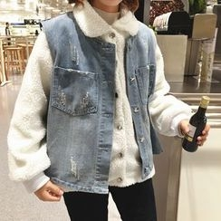 Chililala - Set: Fleece Snap-Button Jacket + Distressed Denim Vest