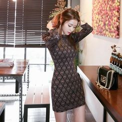 DABAGIRL - Puff-Sleeve Lace Mini Sheath Dress