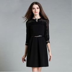 Cherry Dress - 3/4-Sleeve Lace Panel Dress