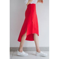 migunstyle - Slit-Side Ruffled Midi Skirt