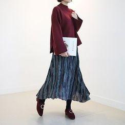 STYLEBYYAM - Band-Waist Crinkled Long Skirt
