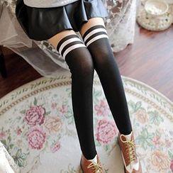 Eva Fashion - Stripe Trim Fleece-Lined Leggings