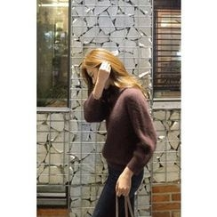 CHERRYKOKO - Raglan-Sleeve Furry Rib-Knit Top