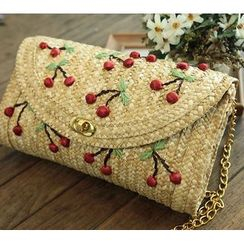 Trava - Cherry Straw Shoulder Bag