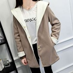 Heybabe - Color Panel Hooded Coat