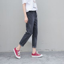 Denimot - Washed Straight Leg Jeans