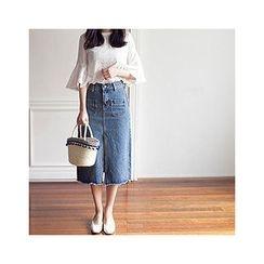 MASoeur - Slit-Hem Denim Midi Skirt