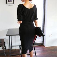 DABAGIRL - Dolman-Sleeve Midi Sheath Dress