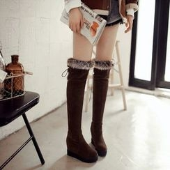 Pastel Pairs - Hidden Wedge Furry Trim Over-the-Knee Boots