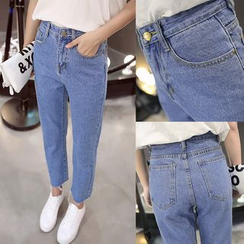 Nassyi - Straight-Cut Cropped Jeans