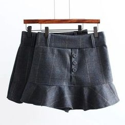 Suzette - Plaid Ruffle Panel Skirt