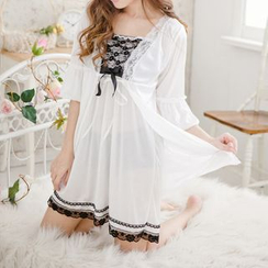 Eros - Set: Lace Trim Nightdress + Robe