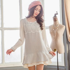 Tokyo Fashion - Lace Trim Long-Sleeve Tweed Dress