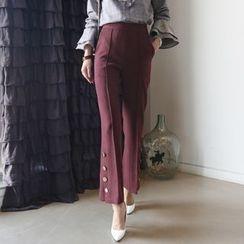 Aurora - 飾釦闊腿褲