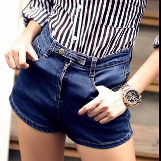 Sweet Dolly - High-Waist Denim Shorts