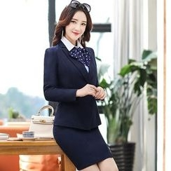 Romantica - Buttoned Blazer / Long-Sleeve Blouse / Slit-Hem Skirt