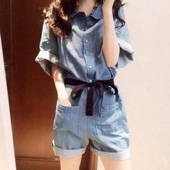 Iscat - Cuffed Denim Playsuit