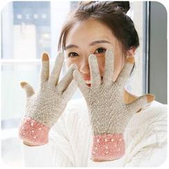 默默爱 - 珠子拼色针织手套
