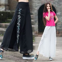 Diosa - Embroidered Linen Cotton Wide Leg Pants