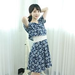 Dodostyle - Floral Patterned Lace-Panel A-Line Dress