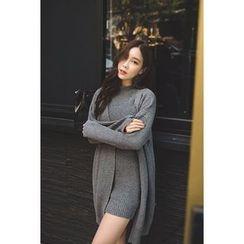 migunstyle - Set: Open-Front Cardigan + Sleeveless Ribbed Dress