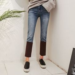 DABAGIRL - Faux-Suede Panel Straight-Cut Jeans