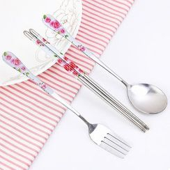 izzmiki - Floral Print Stainless Steel Cutlery Set