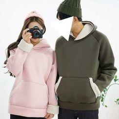 Seoul Homme - Couple Hooded Fleece-Trim Pullover