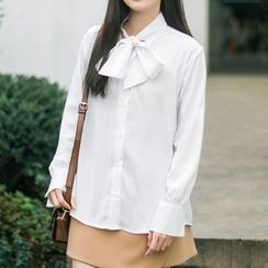 Meimei - 領結帶雪紡襯衫