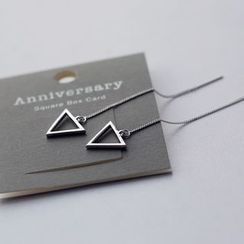 Love Generation - Triangle Sterling Silver Threader Earrings