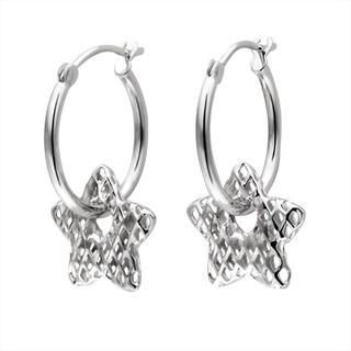 MaBelle - 14K White Gold Star Diamond-Cut Hoop Earrings