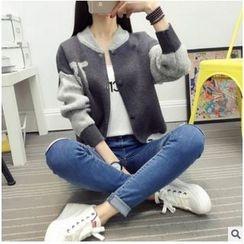 ENZA - Color Panel Knit Baseball Jacket