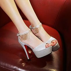 Sidewalk - Embellished Ankle Strap Platform Stiletto Sandals