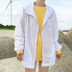 Miss Kekeli - Plain Hooded Zip Light Jacket