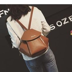 Aishang - Faux Leather Flap Backpack