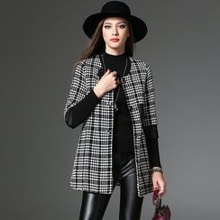 Y:Q - 3/4 Sleeve Plaid Woolen Coat with Flower Brooch