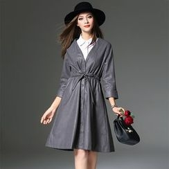Y:Q - 3/4 Sleeve Drawstring Waist Faux Leather Coat / Sleeveless Shirtdress
