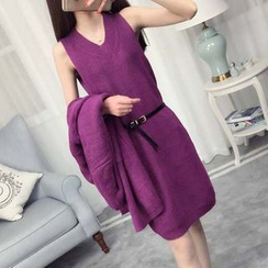 anzoveve - Set: V-Neck Sleeveless Knit Dress + Long Cardigan