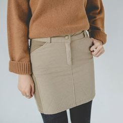 JUSTONE - Zip-Front Quilted Mini Pencil Skirt
