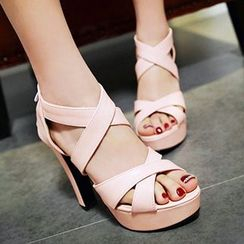 Sidewalk - Cross Strap Platform High Heel Sandals