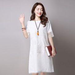 Salisha - Lace Panel Short-Sleeve Dress